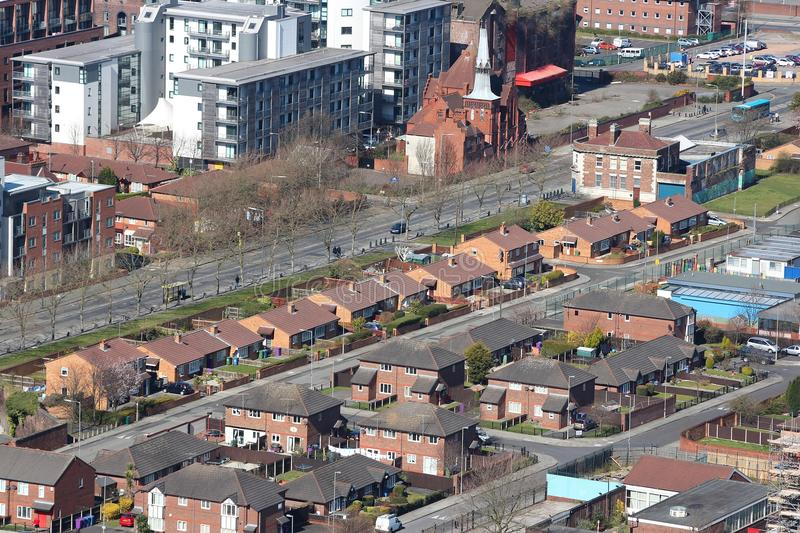 Liverpool homes. Homes in Liverpool, UK - suburban city aerial view royalty free stock photography
