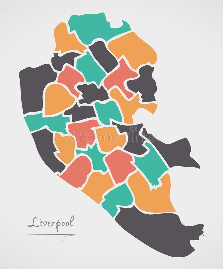 Liverpool Map with wards and modern round shapes. Illustration vector illustration