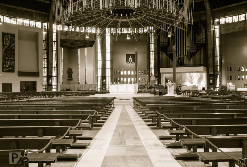Liverpool Metropolitan Cathedral inside B. ENGLAND, LIVERPOOL - 15 NOV 2015: Liverpool Metropolitan Cathedral inside B stock images