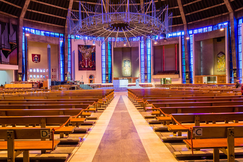 Liverpool Metropolitan Cathedral inside C. ENGLAND, LIVERPOOL - 15 NOV 2015: Liverpool Metropolitan Cathedral inside C royalty free stock photos