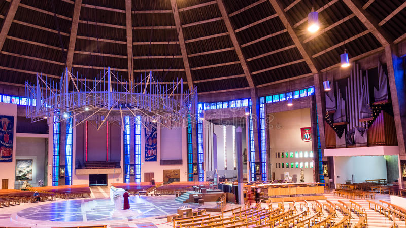 Liverpool Metropolitan Cathedral inside D. ENGLAND, LIVERPOOL - 15 NOV 2015: Liverpool Metropolitan Cathedral inside D stock photography