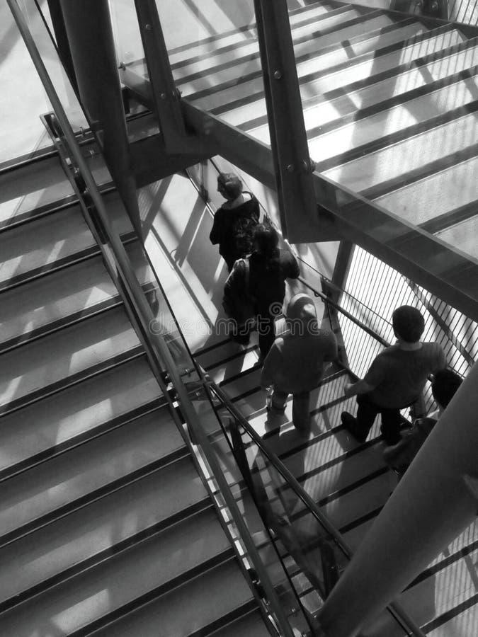 Liverpool museumtrappuppgång med folk som stiger ned arkivbilder
