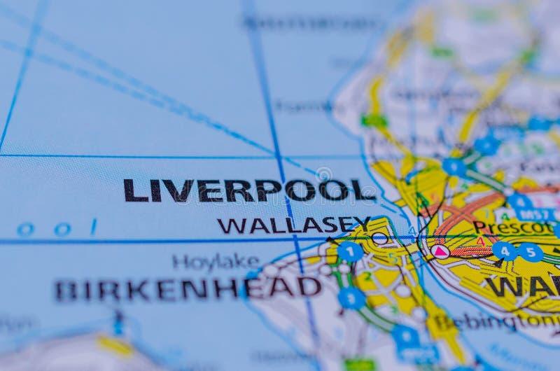 Liverpool op kaart royalty-vrije stock foto