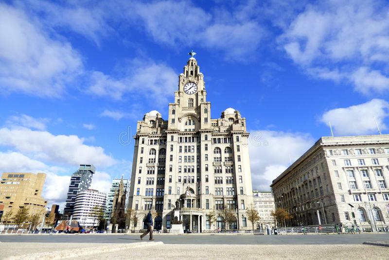Liverpool Pier Head Liver Building lizenzfreie stockfotos