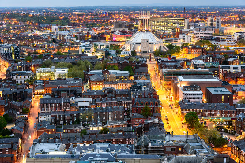Liverpool skyline and Metropolitan cathedral royalty free stock photos