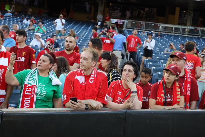 Liverpool soccer fans support Liverpool FC against Sporting CP during the 2019 Western Union Cup game at Yankees stadium royalty free stock image