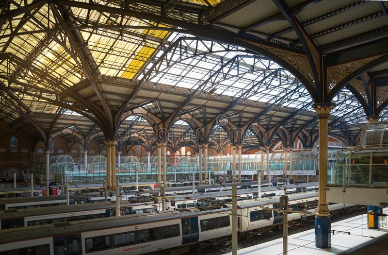 Liverpool street train station interior Trains on the platforms ready to depart. UK royalty free stock images