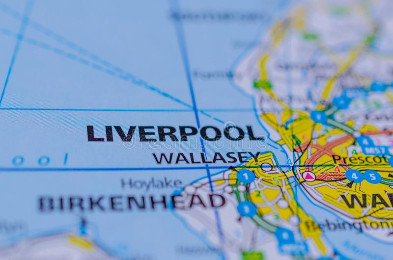 Liverpool sur la carte photo libre de droits