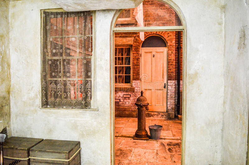 Liverpool UK - 03 April 2015 - Pembroke Place rekonstruktion på museet av Liverpool royaltyfria foton