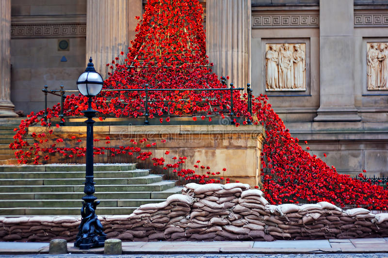 LIVERPOOL UK, DECEMBER 8TH 2015. Weeping Window Poppy Sculpture. At St Georges Hall Liverpool UK royalty free stock photography