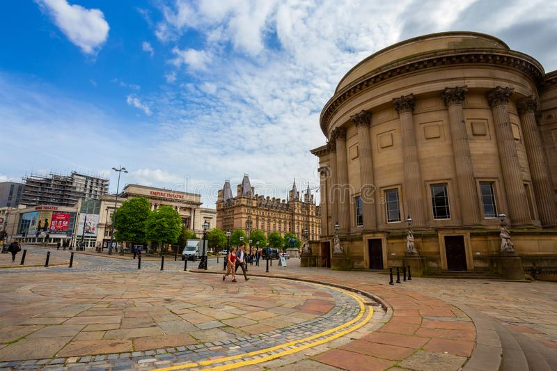 Citysacpe and architecture surround Liverpool Lime Street. Liverpool, UK - May 16 2018: Citysacpe and architecture surround Liverpool Lime Street and William royalty free stock image