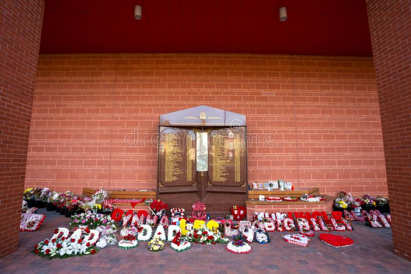 Hillsborough memorial at Anfield stadium in Liverpool, UK. Liverpool, UK - May 17 2018: Hillsborough memorial for the 96 victims in Hillsborough disaster royalty free stock image