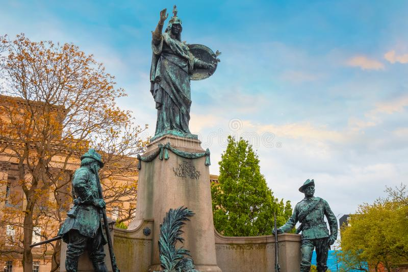 Memorial to the King`s Liverpool Regiment in Liverpool, UK. Memorial to the King`s Liverpool erected in 1905 and  dedicated to a Long-established infantry stock photos