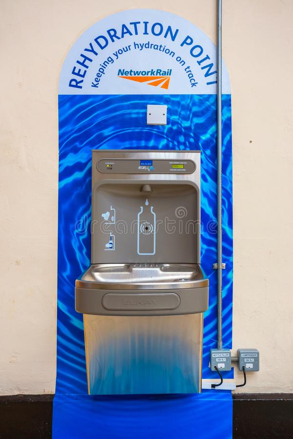 Rehydration Point for commuter at Liverpool Lime Street station. In the UK royalty free stock photos