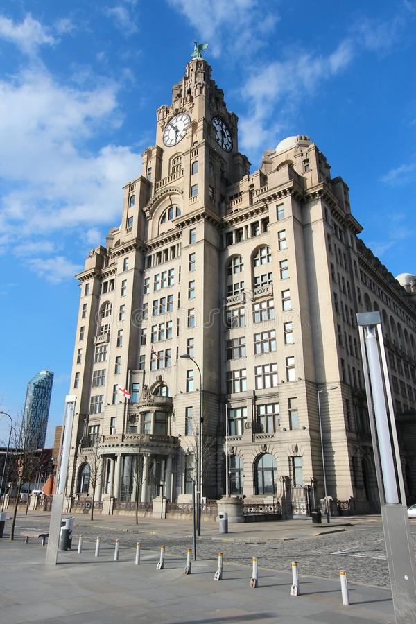 Liverpool UK. Liverpool, UK. Pier Head district, part of UNESCO World Heritage Site. Royal Liver Building - listed monument stock photo