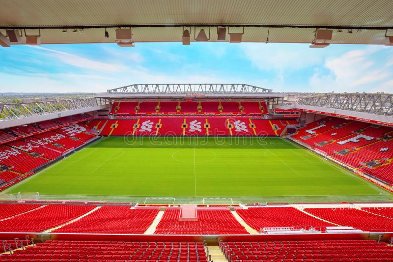 Anfield stadium of Liverpool FC in UK. LIVERPOOL, UNITED KINGDOM - MAY 17 2018: Anfield stadium, the home ground of Liverpool FC which has a seating capacity of stock photos
