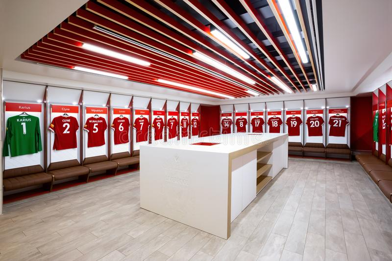 The Changing room at Anfield stadium in Liverpool, UK. LIVERPOOL, UNITED KINGDOM - MAY 17 2018: Player`s jerseys hung in fornt of lockers in the changing room at stock photo