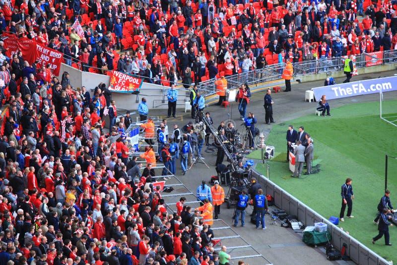 Liverpool versus Semi Def. 2012 van de Kop van Everton FA stock foto's