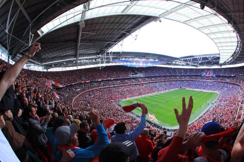 Liverpool versus Semi Def. 2012 van de Kop van Everton FA stock foto