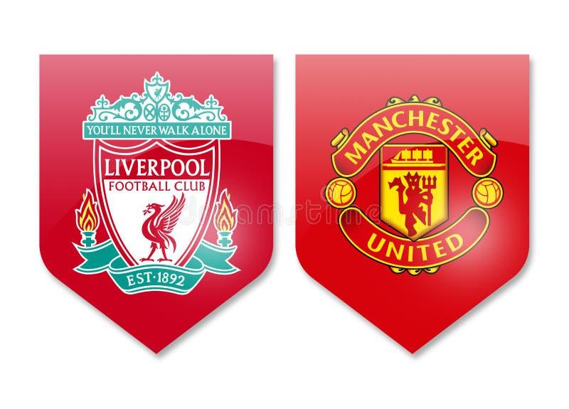 Liverpool vs manchester united ilustracji