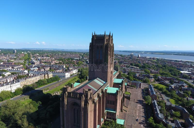 Liverpools惊人的偶象英国国教大教堂 免版税库存照片