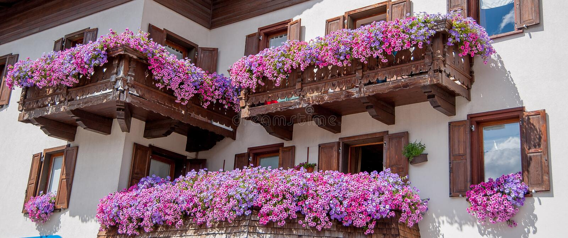 Livigno flowered. Balcony ornamental balconies royalty free stock image