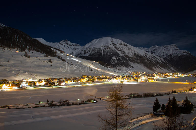 Livigno by night. View over the lights of Livigno by night royalty free stock photos