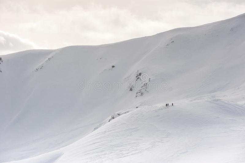 Livigno Italy, snow covered mountains. Livigno is a ski resort in the Italian Alps, near the Swiss border. It`s known for its snow parks, with slopes and trails royalty free stock photo