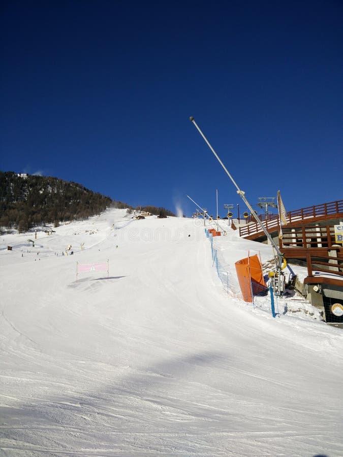 Livigno slope morning stock photo