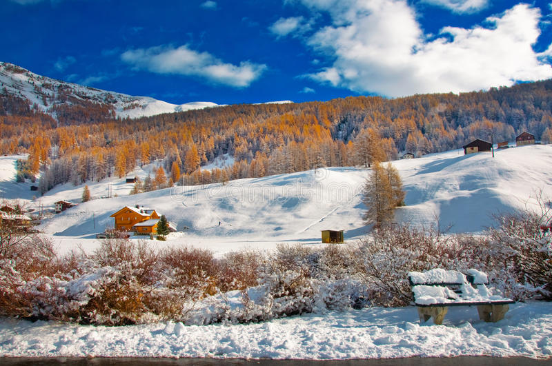 Livigno in winter. Country of Livigno in winter landscape royalty free stock photos