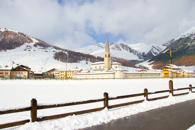 Livigno in winter. Landscape of Livigno in winter, Sondrio, Italy stock images