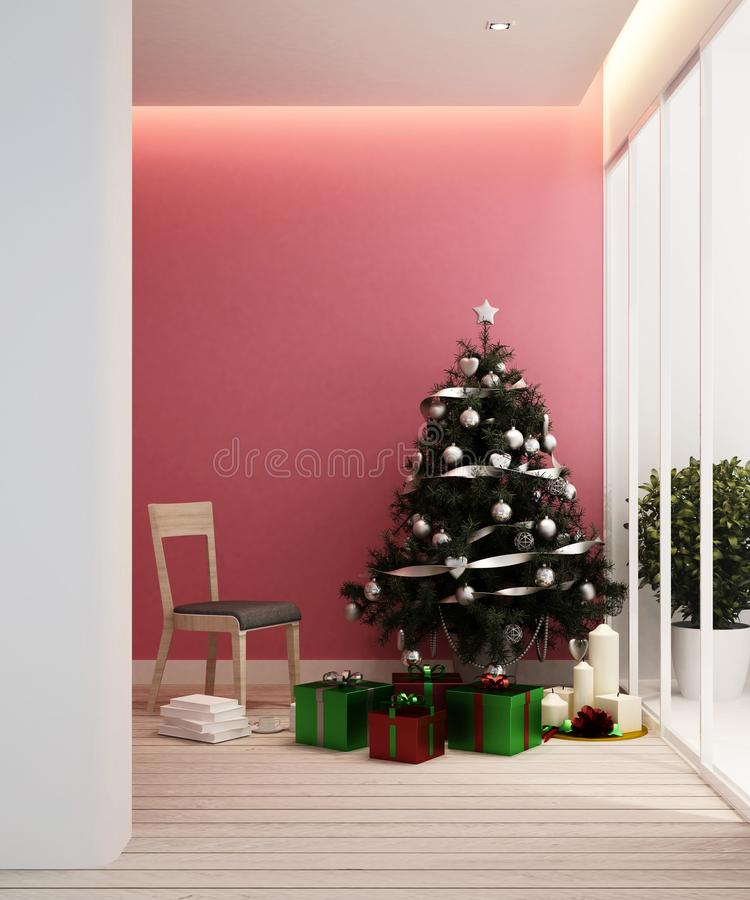 Living area and christmas tree in apartment or home - Interior Design - 3D Rendering stock photos