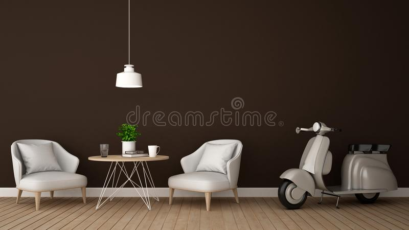 Living area and motorcycle in coffee shop or restaurant - 3D Rendering royalty free illustration