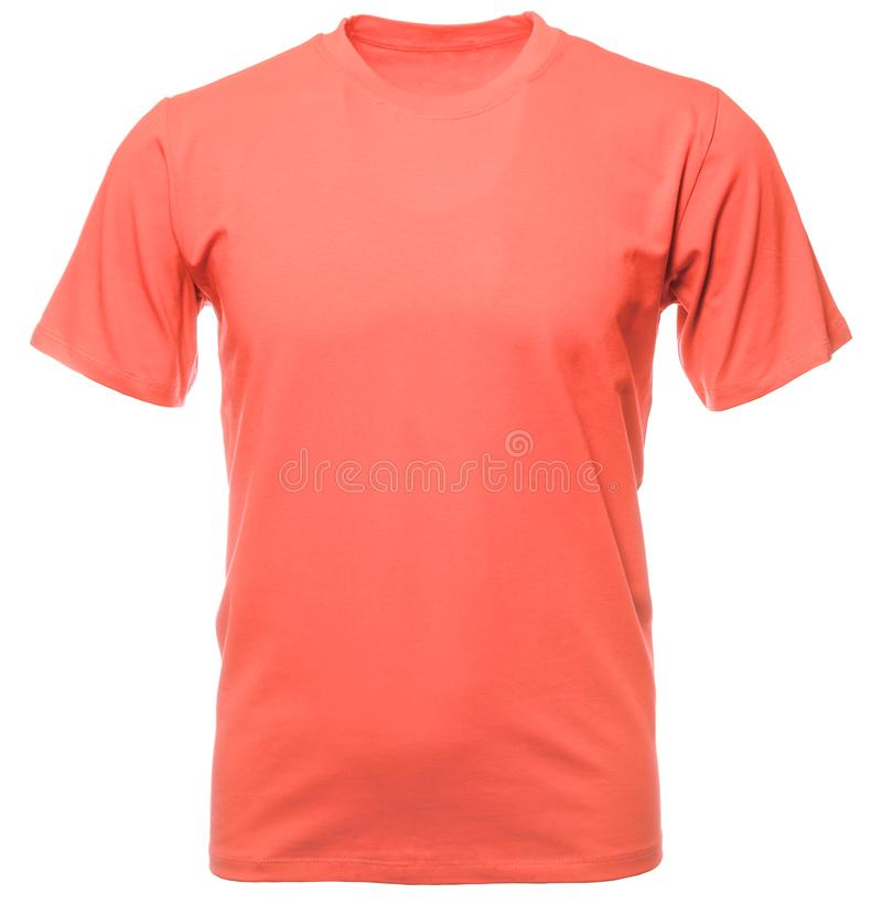 Free Living Coral 2019 Trendy Color Shortsleeve Tshirt On Invisible Mannequin Stock Images - 139379214