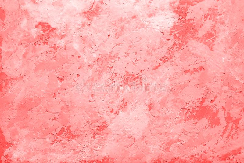 Living Coral color of the Year Abstract decorative texture of old stucco wall. Living Coral color of the Year 2019 on abstract background or decorative texture royalty free stock photography