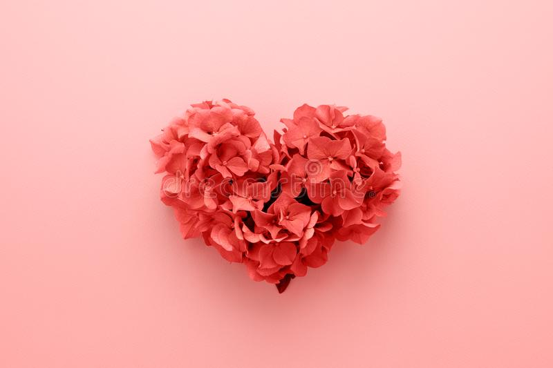 Living Coral color Heart shape made of flowers Valentine's Day stock image