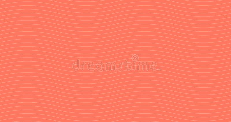 Living coral Geometric white waves seamless pattern. Light collection. Abstract wave textured background design. Vector vector illustration