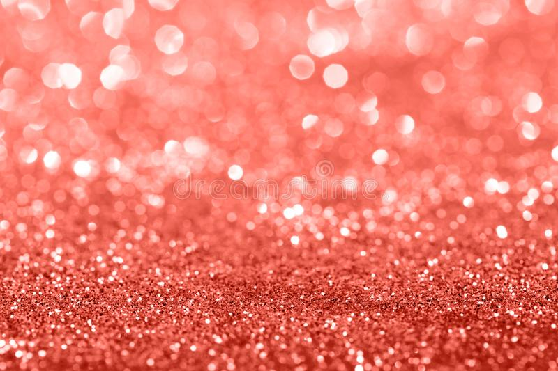 Living Coral glitter bokeh background stock photography