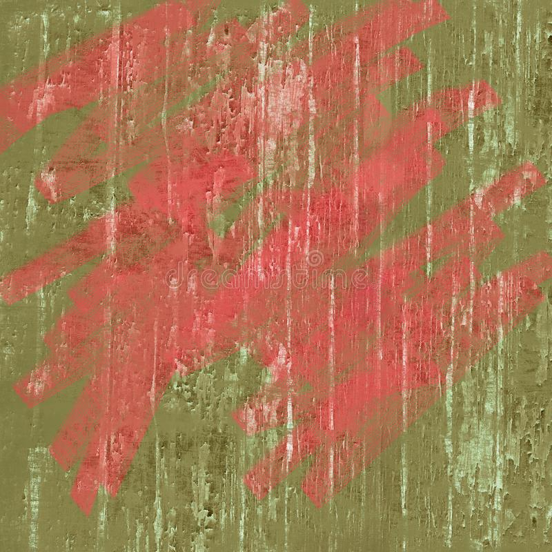 Living coral and green earth tones high resolution two toned abstract textured peeling paint splatter background royalty free stock image