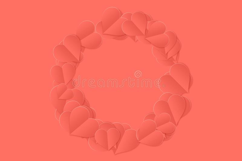 Living coral pantone color of the year 2019 love paper hearts background. Graphics royalty free illustration