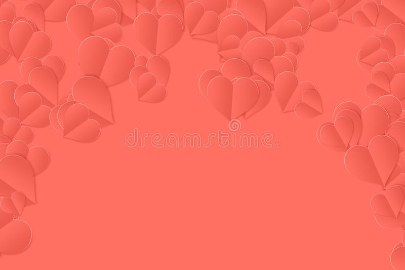 Living coral pantone color of the year 2019 love paper hearts background. Graphics stock illustration