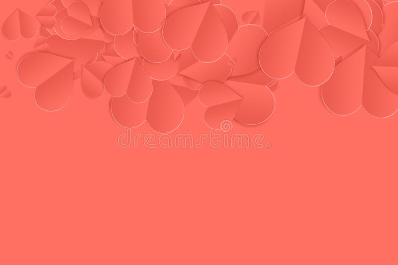 Living coral pantone color of the year 2019 love paper hearts background. Graphics vector illustration