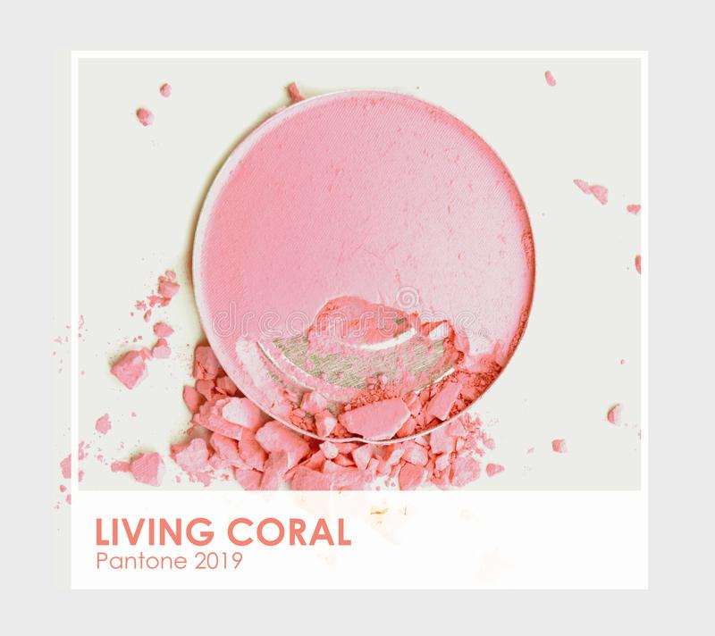 Living coral - Pantone 2019. Make up cosmetic powder brush stock photo