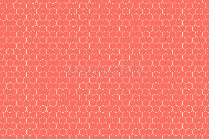 Living Coral tone of Honeycomb Grid tile background or Hexagonal cell texture. with difference border space. vector illustration