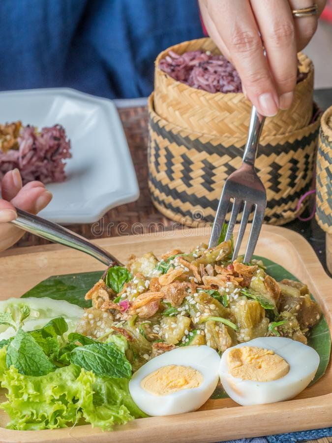 """The Living Craft Centre. Luang Phabang, Laos. Traditional Lao food at Ock Pop Tok, """"East Meets West"""" in Lao, founded on the principles of fair trade stock photo"""