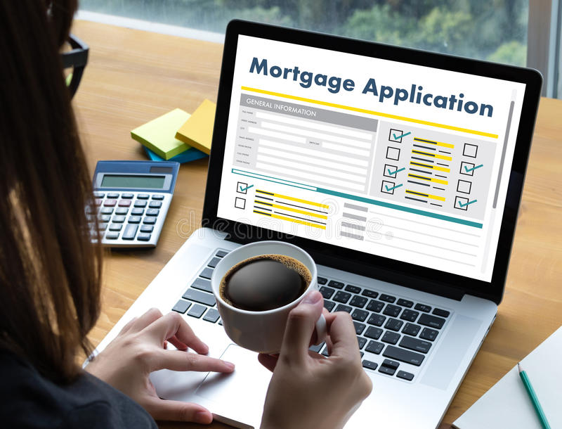 Living Estate MORTGAGE real estate property Investment manage. Ment home pay Loan Payment stock image