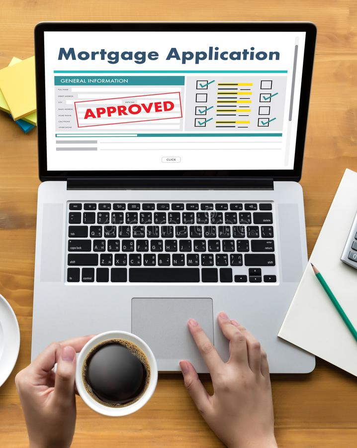 Living Estate MORTGAGE real estate property Investment manage. Ment home pay Loan Payment royalty free stock photography