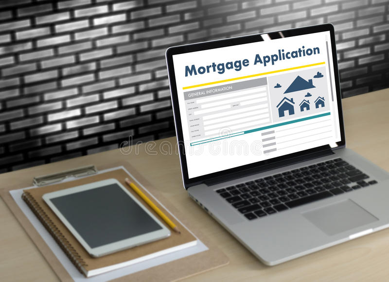 Living Estate MORTGAGE real estate property Investment manage. Ment home pay Loan Payment royalty free stock photo