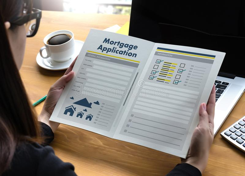 Living Estate MORTGAGE real estate property Investment manage. Ment home pay Loan Payment stock photo