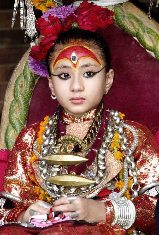 Living Goddess Kumari royalty free stock photo